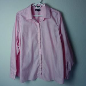Lands' End No Iron Supima pink button front shirt